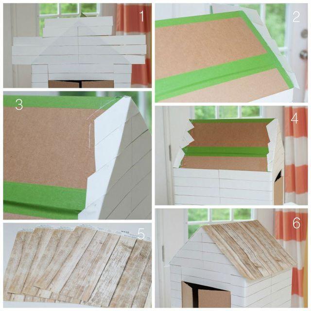 Домик из картонной коробки для кошки своими руками
