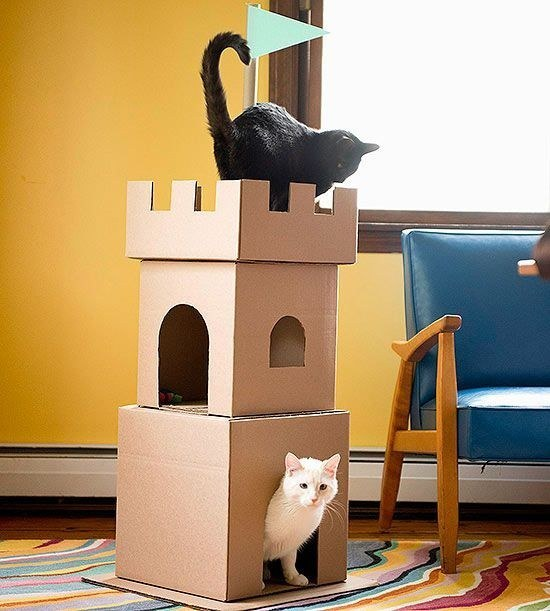 Как сделать домик для кота из коробки