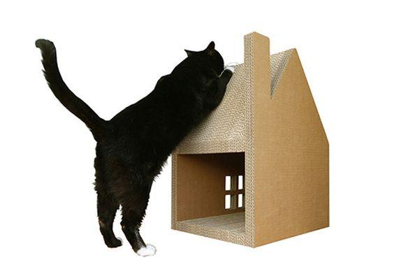 Как сделать домик для кошки из коробки своими 119