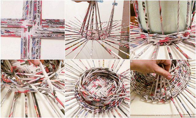 Плетение домика из газетных трубочек