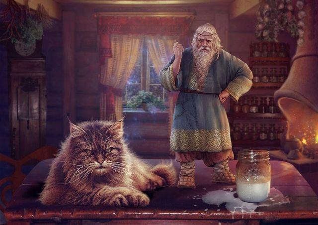 Кот в славянской избе